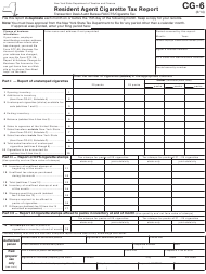 "Form CG-6 ""Resident Agent Cigarette Tax Report"" - New York"