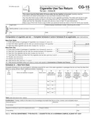 "Form CG-15 ""Cigarette Use Tax Return"" - New York"
