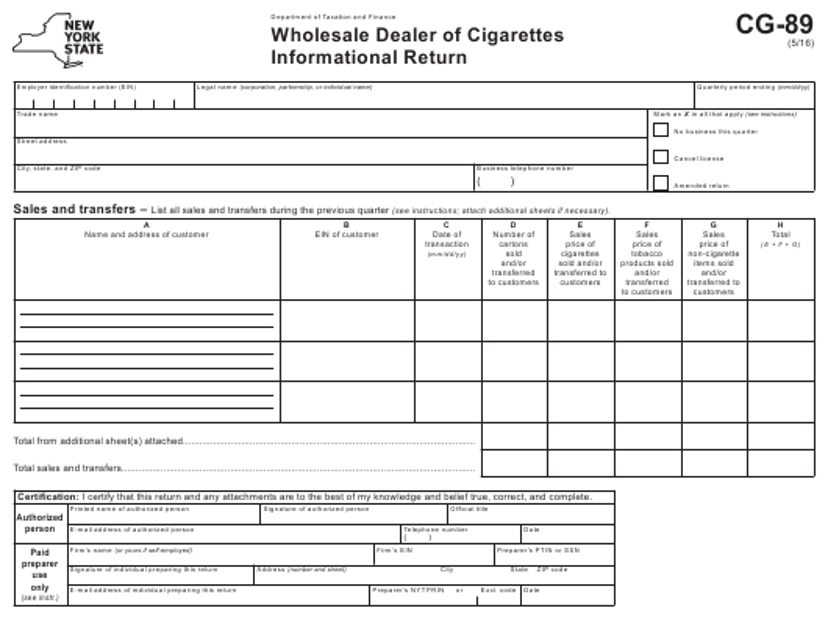 Form CG-89  Printable Pdf