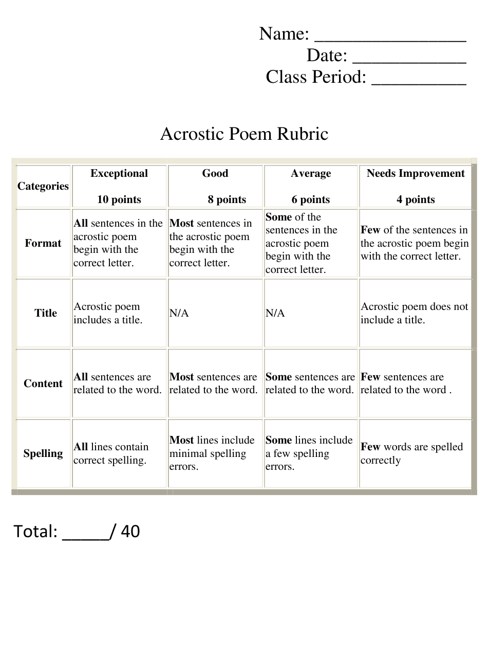 Acrostic Poem Rubric Template Download Printable PDF  Templateroller Intended For Brochure Rubric Template