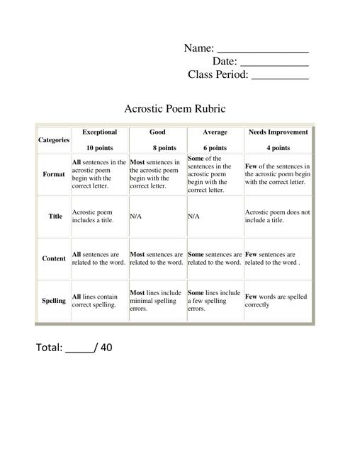 Acrostic Poem Rubric Template Download Printable PDF | Templateroller