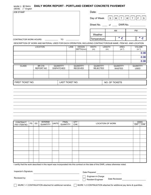 Form MURK3  Printable Pdf