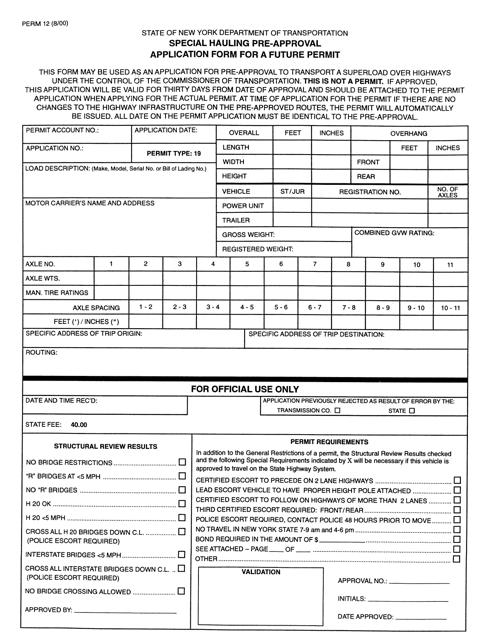 Form PERM12  Printable Pdf