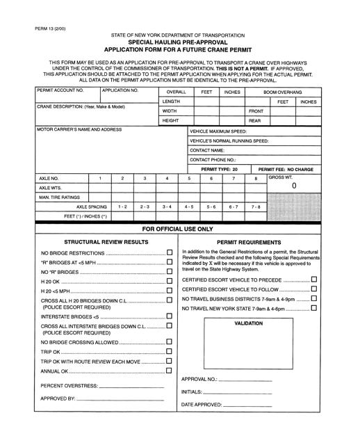 Form PERM13  Printable Pdf