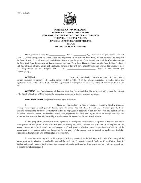 Form PERM3  Printable Pdf
