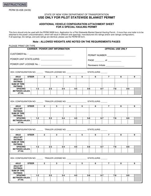 Form PERM39-4SB  Printable Pdf