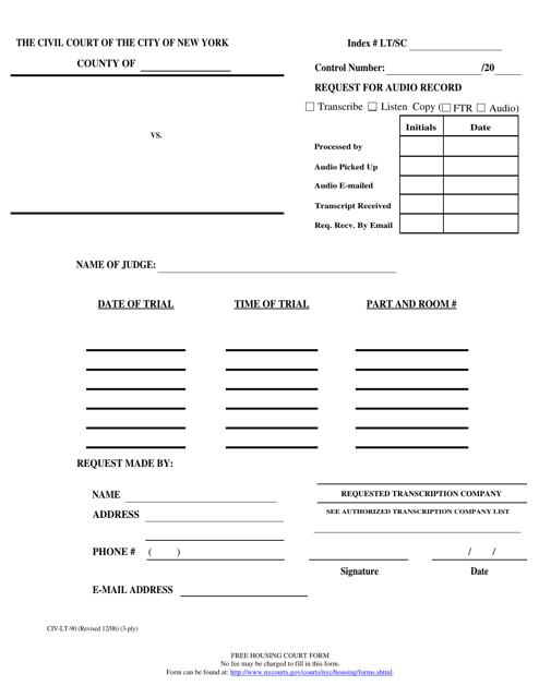 Form CIV-LT-90  Printable Pdf