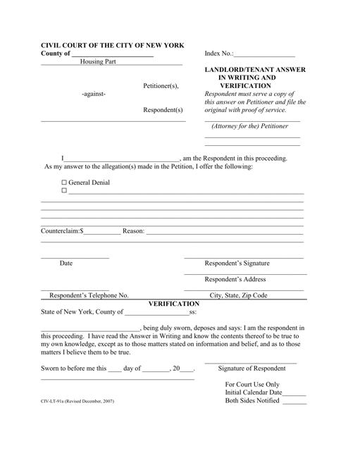 Form CIV-LT-91A  Printable Pdf