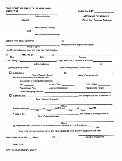 Form CIV-RC-95  Printable Pdf