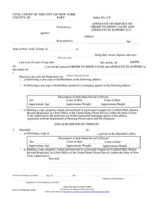 Form CIV-LT-19  Printable Pdf