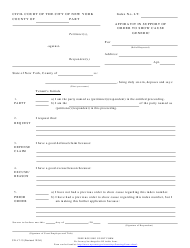 "Form CIV-LT-13 ""Affidavit in Support of Order to Show Cause (Generic)"" - New York City"