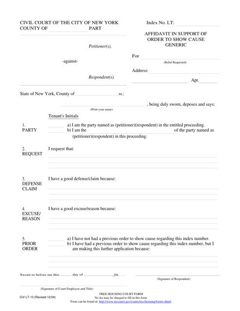 Form CIV-LT-13  Printable Pdf