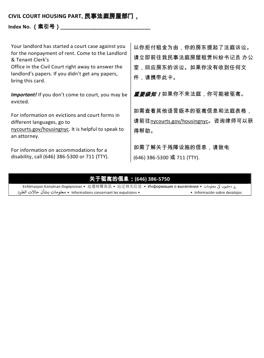 """""""Postcard Notification Summary Proceeding - Non-payment"""" - New York City (English/Chinese Simplified) Download Pdf"""