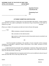 "Form AD-EF-04 ""Attorney Exemption Certification"" - New York"