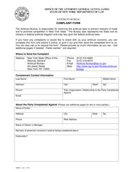"Form AB001 ""Antitrust Bureau Complaint Form"" - New York"