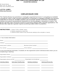 "Form CHAR030 ""Charities Bureau Complaint/Inquiry Form"" - New York"