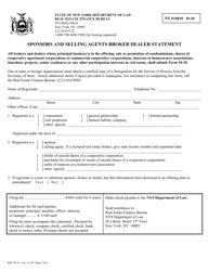 "Form M-10 ""Sponsors and Selling Agents Broker Dealer Statement"" - New York"