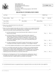 "Form RI-1 ""Registrant Information Form"" - New York"