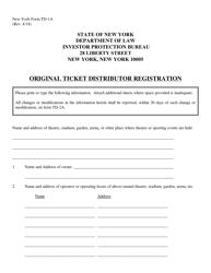 "Form TD-1A ""Original Ticket Distributor Registration"" - New York"
