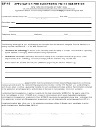 "Form CF-19 ""Application for Electronic Filing Exemption"" - New York"