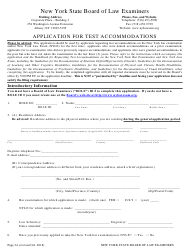 """Application for Test Accommodations"" - New York"