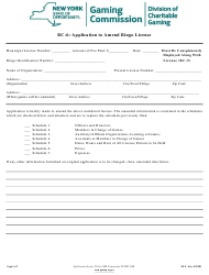 "Form BC-6 ""Application to Amend Bingo License"" - New York"