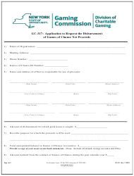 "Form GC-317 ""Application to Request the Disbursement of Games of Chance Net Proceeds"" - New York"