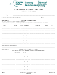 "Form GC-2A ""Application for Games of Chance License (Cont.)"" - New York"