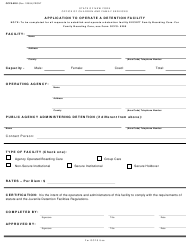 """Form OCFS-0291 """"Application to Operate a Detention Facility"""" - New York"""