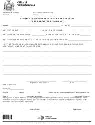"Form I-55 ""Affidavit in Support of Late Filing of Ovs Claim"" - New York"