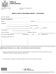 "Form I-18 ""Mental Health Treatment Report - Outpatient"" - New York"