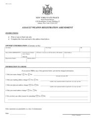 "Form PPB-13 ""Assault Weapon Registration Amendment"" - New York"
