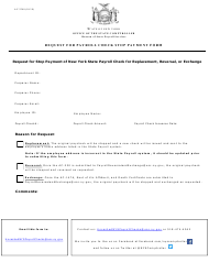 "Form AC-3340 ""Request for Payroll Check Stop Payment Form"" - New York"