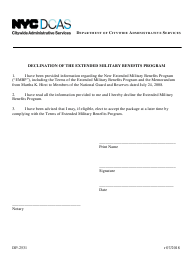 "Form DP-2531 ""Declination of the Extended Military Benefits Program"" - New York City"