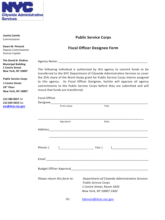 """""""Agency Fiscal Officer Designee Form"""" - New York City Download Pdf"""