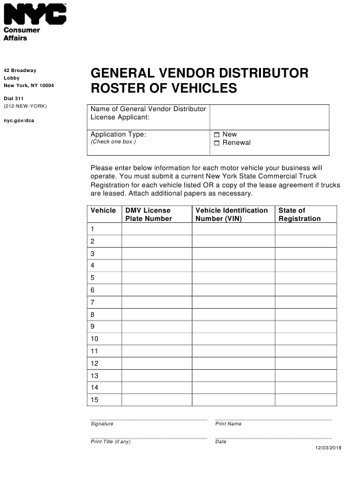 """General Vendor Distributor Roster of Vehicles"" - New York City Download Pdf"