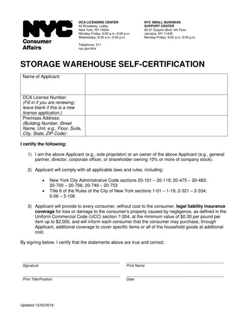 """Storage Warehouse Self-certification"" - New York City Download Pdf"