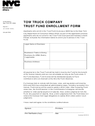 """Tow Truck Company Trust Fund Enrollment Form"" - New York City"