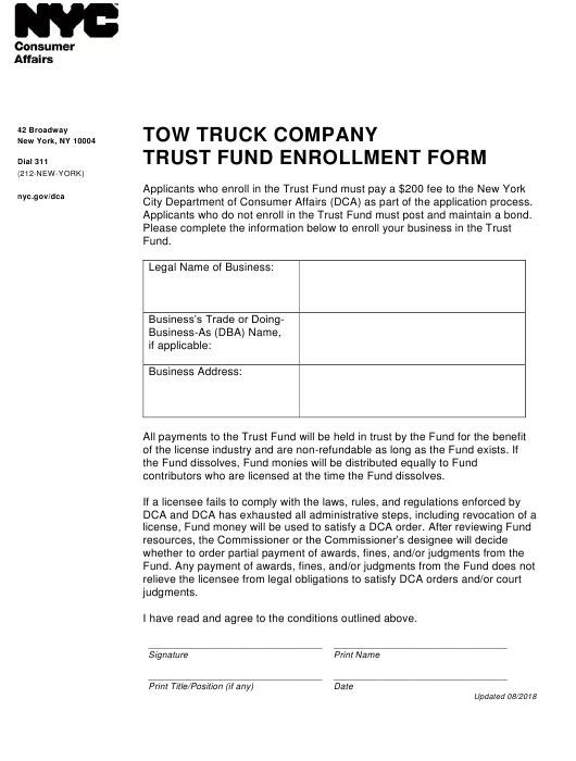 """""""Tow Truck Company Trust Fund Enrollment Form"""" - New York City Download Pdf"""