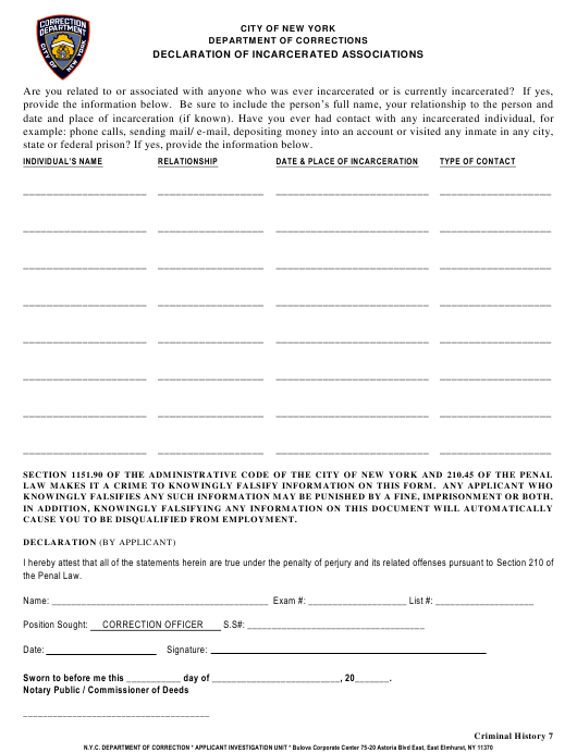 """""""Declaration of Incarcerated Associations Form (Criminal History 7)"""" - New York City Download Pdf"""