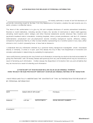 """Authorization for Release of Personal Information Form (Miscellaneous 3)"" - New York City"