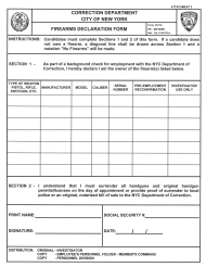 "Form 4511A Attachment 2 ""Firearm Declaration Form"" - New York City"