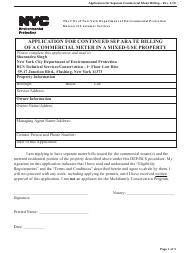 """""""Application for Continued Separate Billing of a Commercial Meter in a Mixed-Use Property"""" - New York City"""