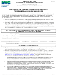 """""""Application for a Variance From the Decibel Limits for Commercial Music Establishments"""" - New York City"""