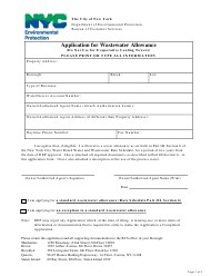 """""""Application for Wastewater Allowance (Not Evaporative Cooling Towers)"""" - New York City"""