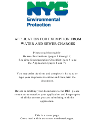 """""""Application for Exemption From Water and Sewer Charges"""" - New York City"""