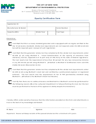 """Opacity Certification Form"" - New York City"