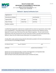 """Method 9 - Opacity Certification Form"" - New York City"