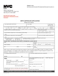 "Form VR67 ""Birth Certificate Application"" - New York City"