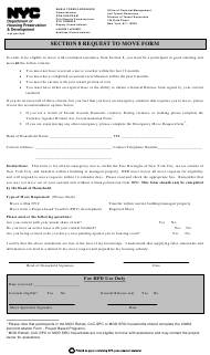 """Section 8 Request to Move Form"" - New York City"